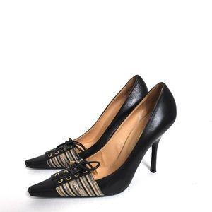 Missoni Tie Accent Black Leather Stiletto Pumps